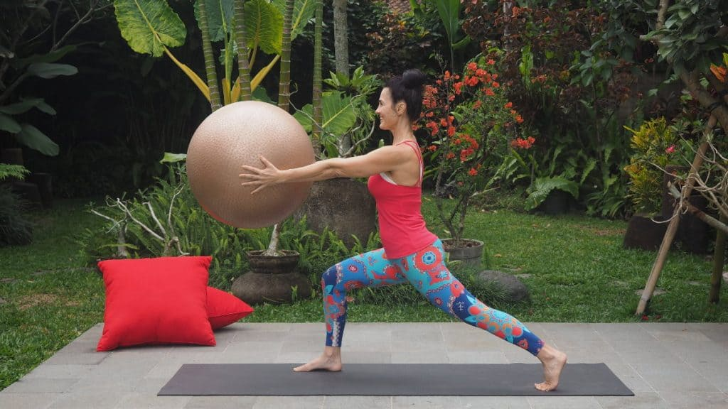 core training with exercise ball for menopause women