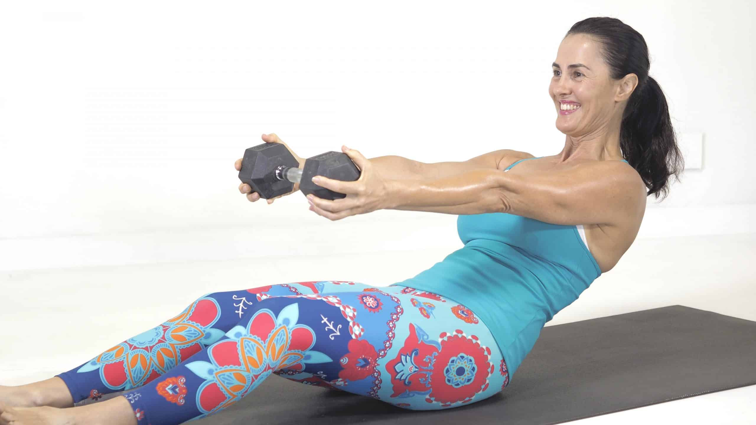 Lose your batwing arms - dumbbell tricep hold on the mat